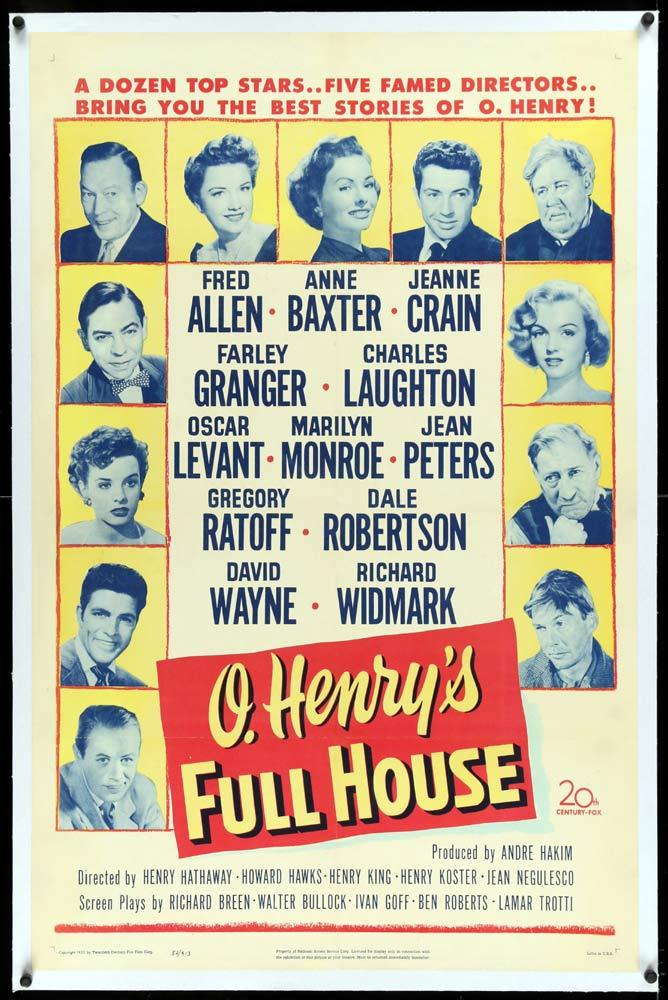 O.HENRY'S FULL HOUSE Linen Backed US One sheet Movie Poster Marilyn Monroe