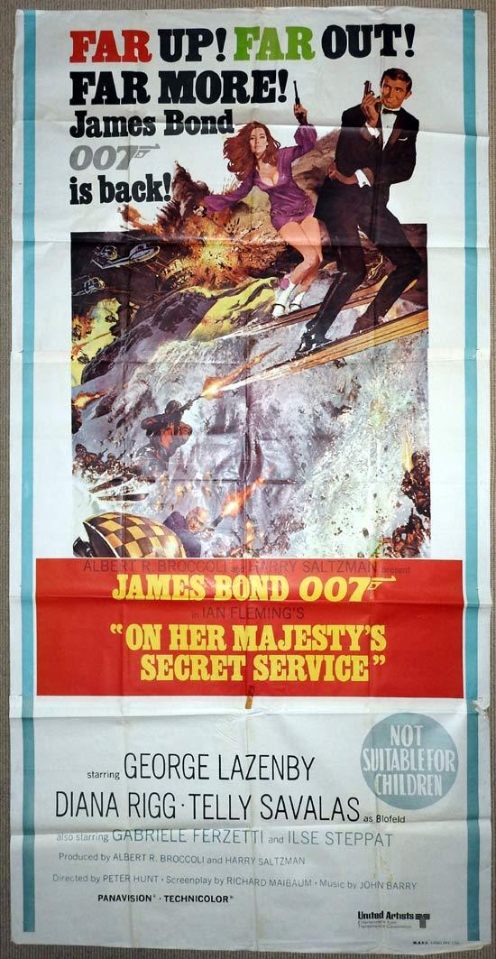 ON HER MAJESTYS SECRET SERVICE Three sheet Movie Poster 1963 James Bond OHMSS