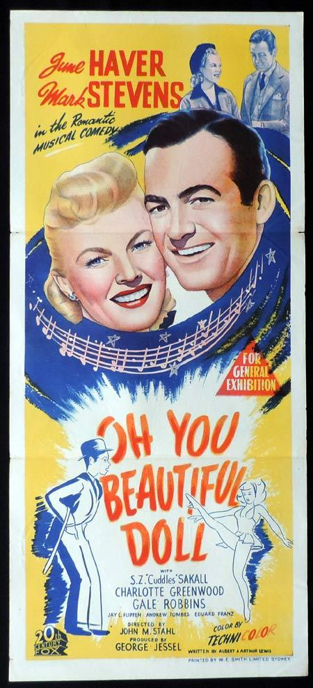 OH YOU BEAUTIFUL DOLL Original Daybill Movie Poster Mark Stevens June Haver