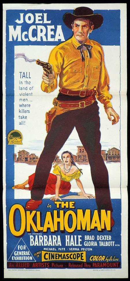 THE OKLAHOMAN Original Daybill Movie Poster Joel McCrae Richardson Studio