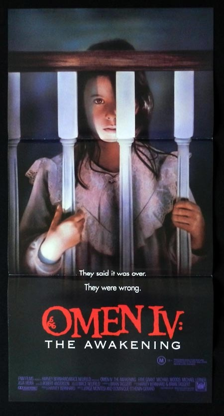 THE OMEN IV Original Daybill Movie Poster Faye Grant Horror 4