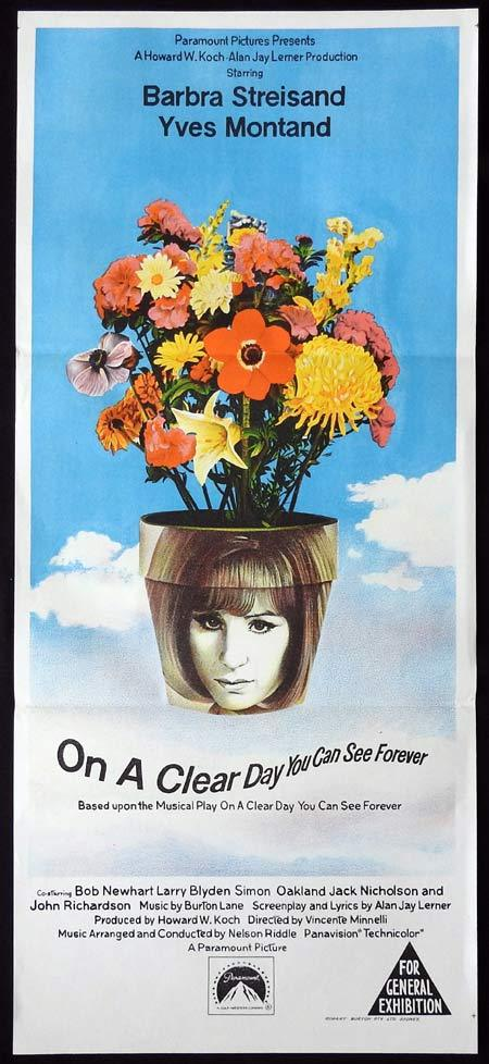 ON A CLEAR DAY YOU CAN SEE FOREVER Original Daybill Movie Poster Barbra Streisand Yves Montand