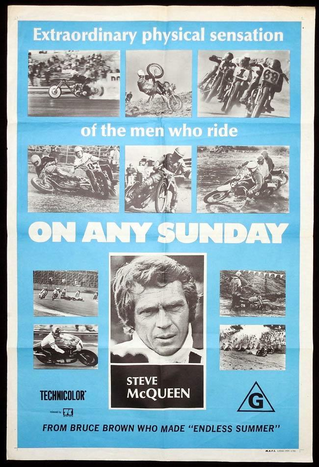 ON ANY SUNDAY Original One sheet Movie Poster Bruce Brown Steve McQueen Mert Lawwill