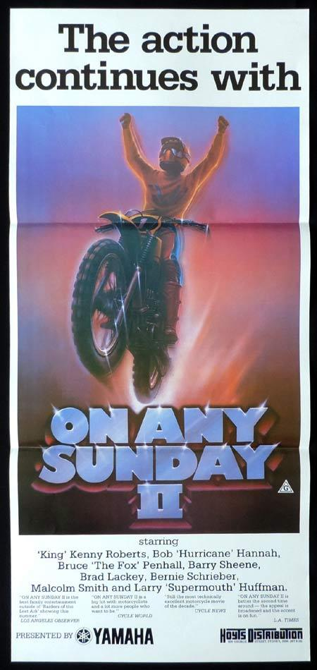 ON ANY SUNDAY II Original Daybill Movie Poster Motorcycle Biker