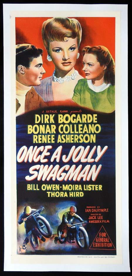 ONCE A JOLLY SWAGMAN Daybill Movie poster DIRK BOGARDE Linen Backed
