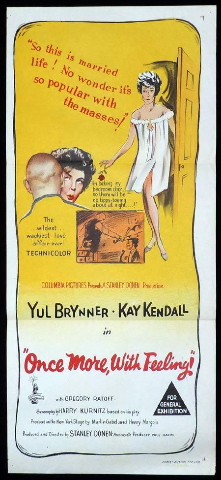 ONCE MORE WITH FEELING Original Daybill Movie Poster Yul Brynner Kay Kendall