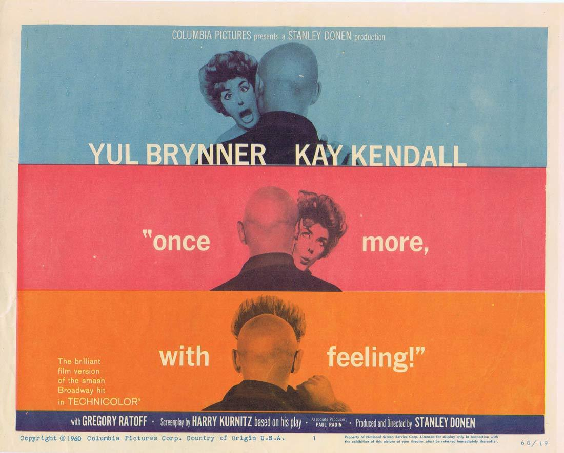 ONCE MORE WITH FEELING Original Lobby Card Yul Brynner Kay Kendall