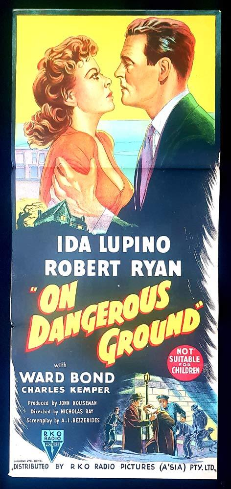 ON DANGEROUS GROUND Daybill Movie Poster Film Noir Ida Lupino