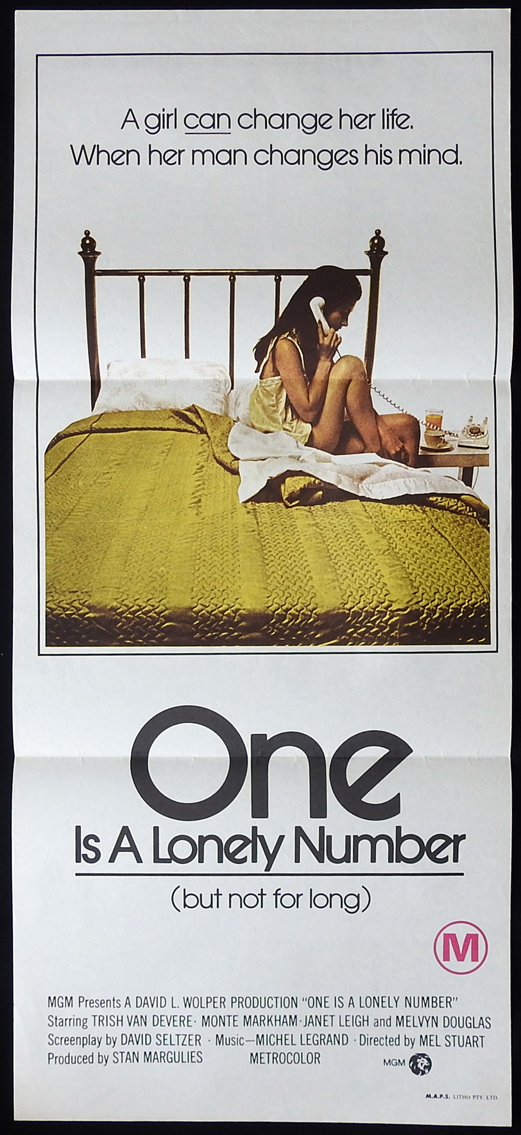 ONE IS A LONELY NUMBER Daybill Movie poster Trish Van Devere Monte Markham Janet Leigh