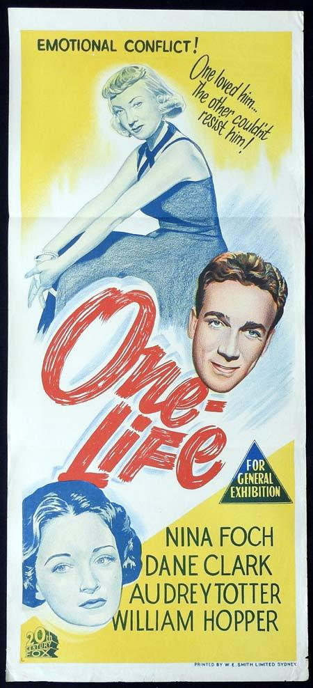ONE LIFE Original Daybill Movie Poster Robert Anderson Dane Clark Nina Foch