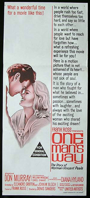 ONE MAN'S WAY Original Daybill Movie Poster Norman Vincent Peale story