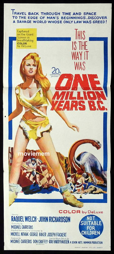 ONE MILLION YEARS BC Original Daybill Movie poster Raquel Welch Hammer