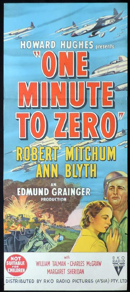ONE MINUTE TO ZERO Original Daybill Movie Poster RKO Robert Mitchum