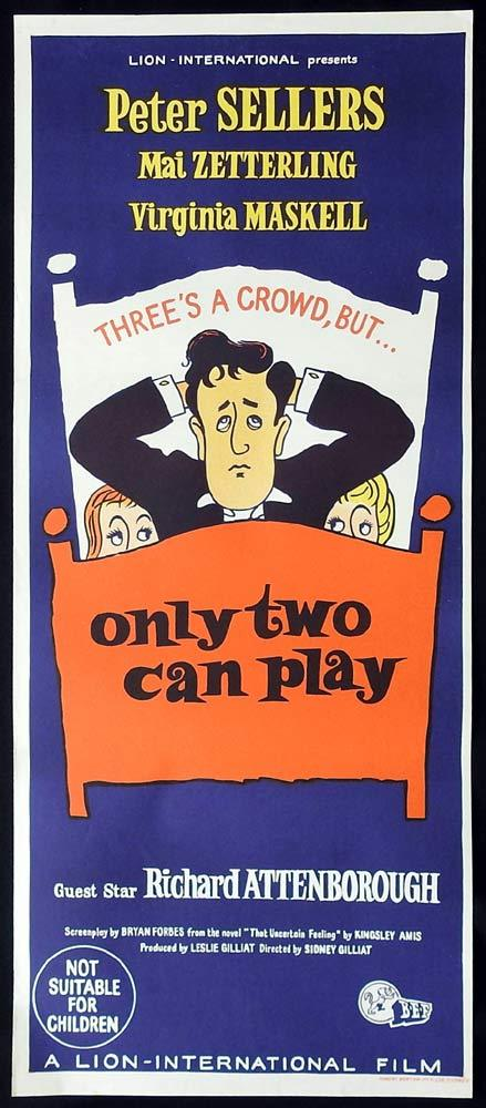 ONLY TWO CAN PLAY Original Daybill Movie Poster Mai Zetterling Peter Sellers