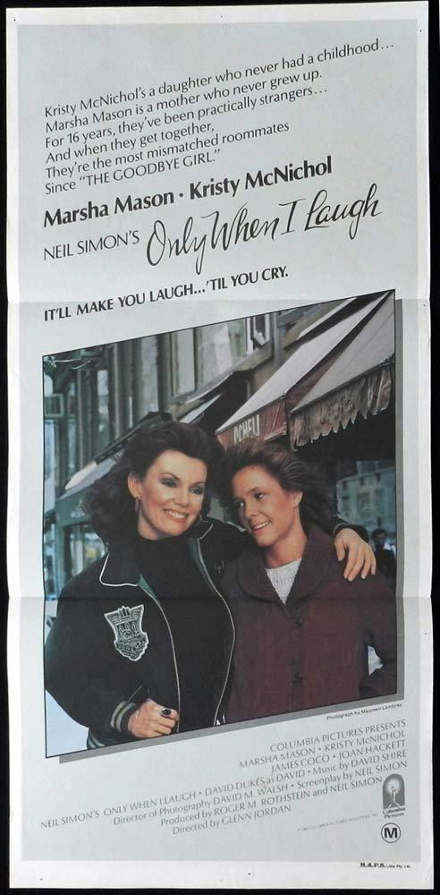 ONLY WHEN I LAUGH Original Daybill Movie Poster Marsha Mason Kristy McNichol