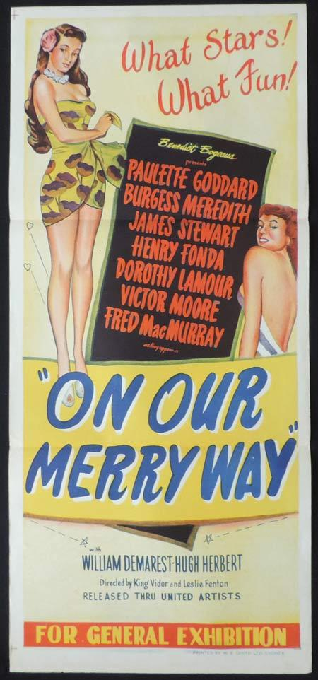 ON OUR MERRY WAY Original Daybill Movie Poster Paulette Goddard James Stewart