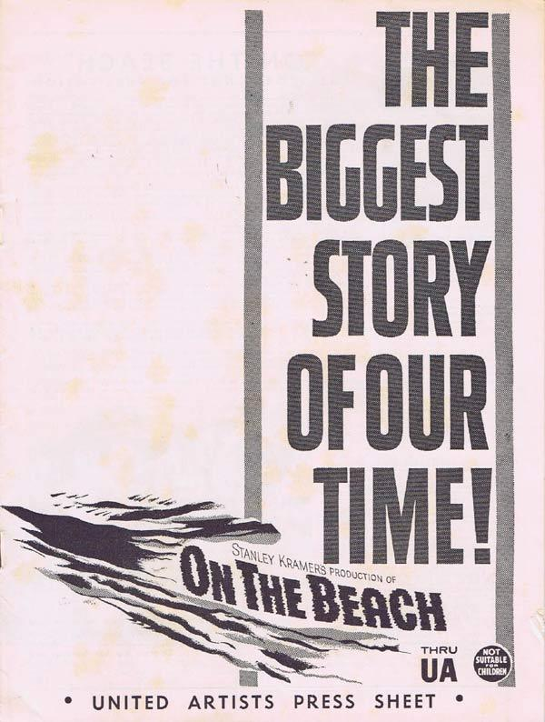 ON THE BEACH Rare AUSTRALIAN Movie Press Sheet Gregory Peck