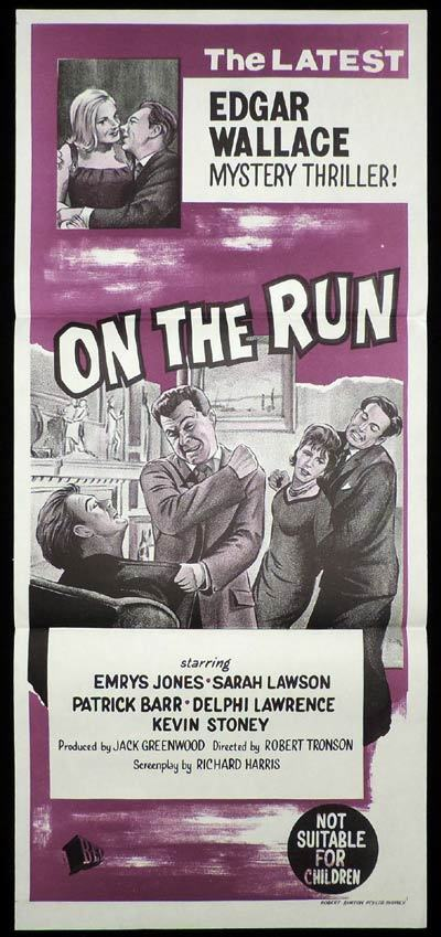 ON THE RUN Daybill Movie poster Film Noir Edgar Wallace Theatre