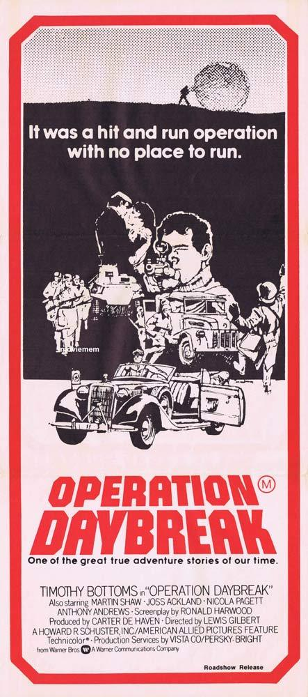 OPERATION DAYBREAK Original Daybill Movie poster Anthony Andrews Timothy Bottoms