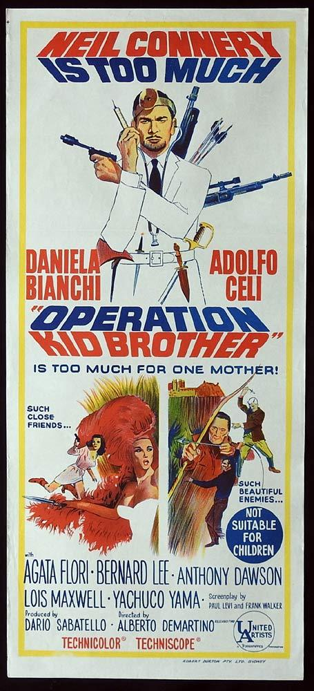 OPERATION KID BROTHER Original Daybill Movie Poster Neil Connery Daniela Bianchi