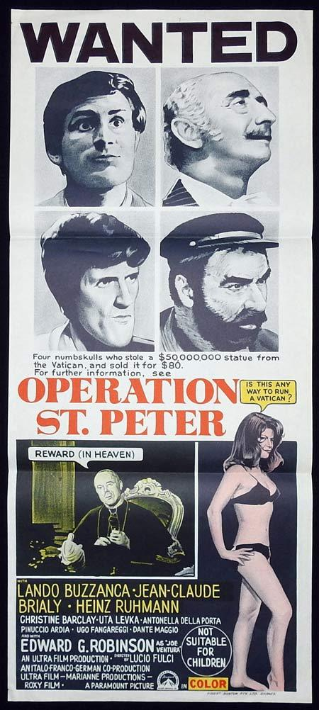 OPERATION ST PETER Original Daybill Movie poster LUCIO FULCI Edward G. Robinson