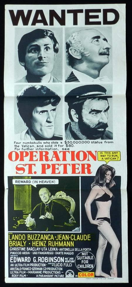 OPERATION ST PETER Original Daybill Movie Poster Lando Buzzanca Jean-Claude Brialy Edward G. Robinson