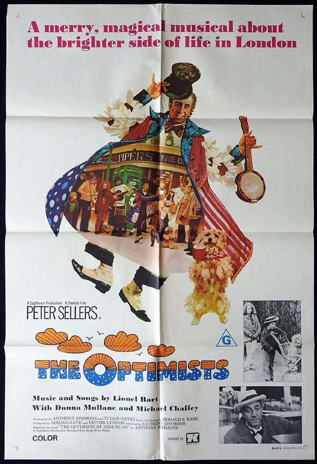THE OPTIMISTS Original One sheet Movie poster Peter Sellers Lionel Bart Donna Mullane
