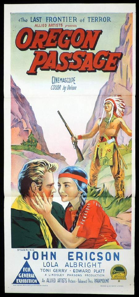OREGON PASSAGE Original Daybill Movie Poster John Ericson American Indian