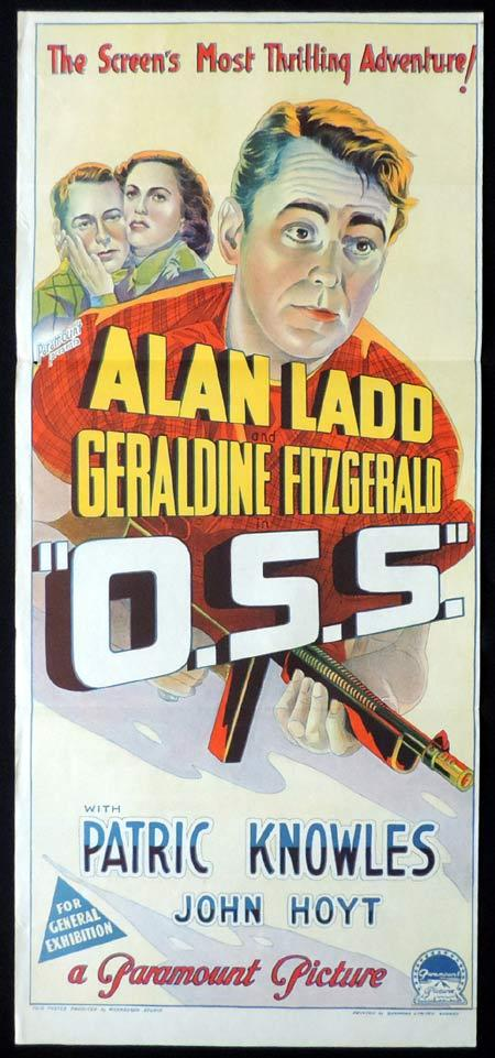 THE OSS Original Daybill Movie Poster ALAN LADD Geraldine Fitzgerald Richardson Studio O.S.S