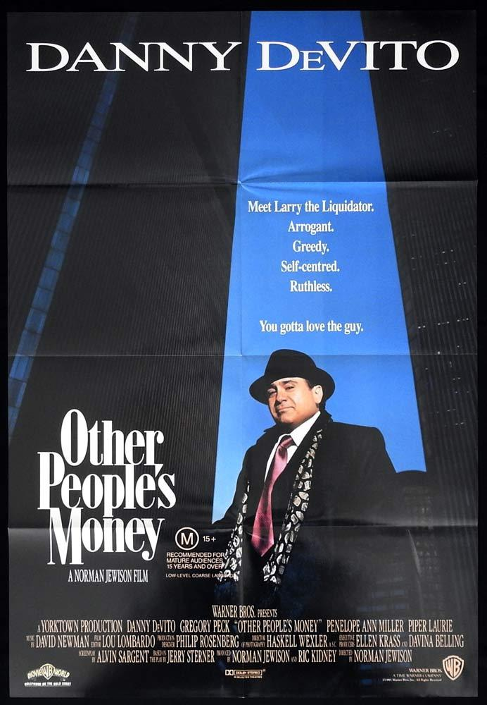 OTHER PEOPLE'S MONEY Original One sheet Movie poster Danny DeVito Gregory Peck