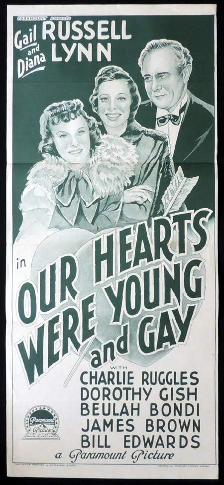 OUR HEARTS WERE YOUNG AND GAY Original Daybill Movie Poster Gail Russell Richardson Studio