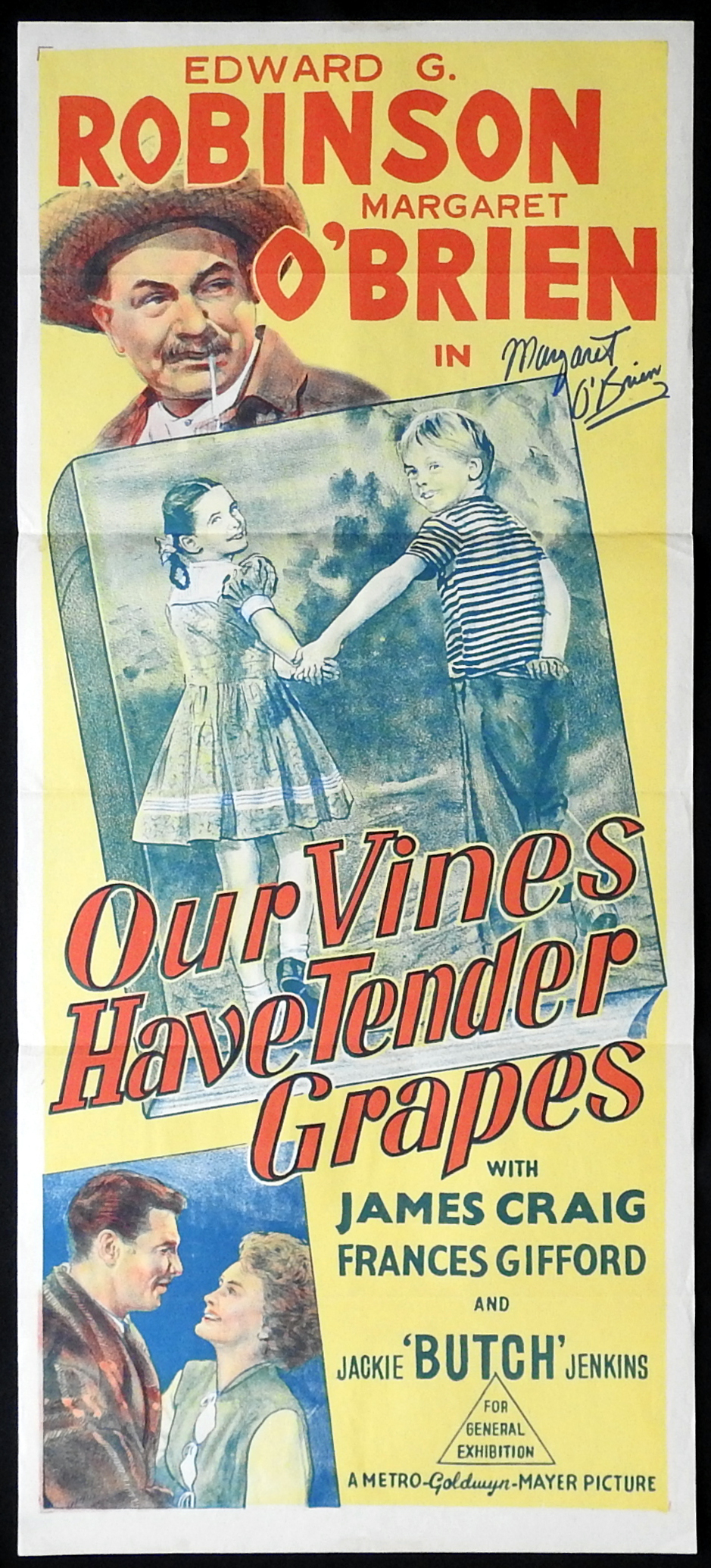 OUR VINES HAVE TENDER GRAPES Original Daybill Movie Poster Margaret O'Brien Autograph