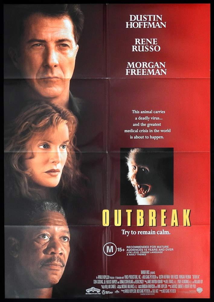 OUTBREAK Original One sheet Movie poster Dustin Hoffman Rene Russo Morgan Freeman