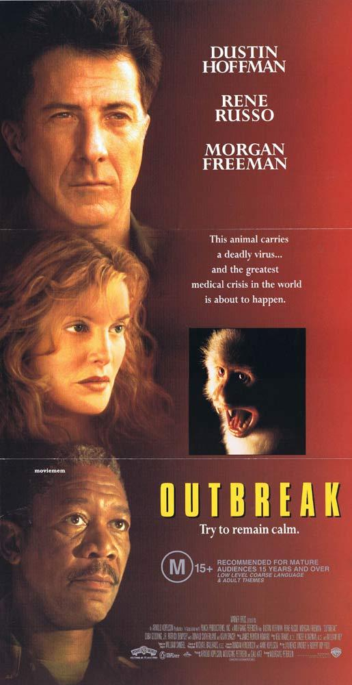 OUTBREAK Original daybill Movie poster Dustin Hoffman Rene Russo Morgan Freeman