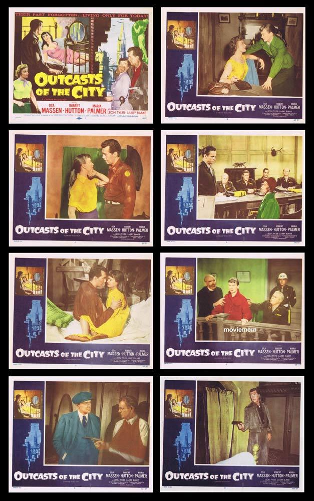 OUTCASTS OF THE CITY Original Lobby Card set Osa Massen Robert Hutton Film Noir