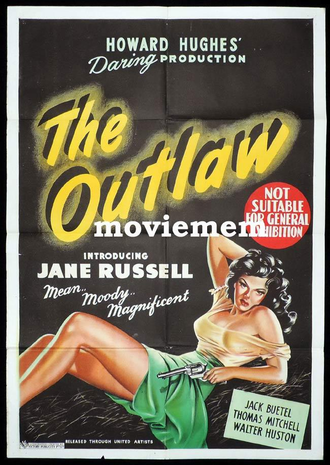 THE OUTLAW Original One sheet Movie Poster JANE RUSSELL Mean Moody and Magnifiecnt