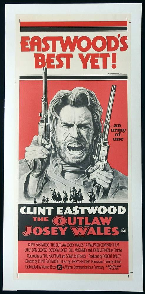 THE OUTLAW JOSEY WALES Original LINEN BACKED Daybill Movie Poster Clint Eastwood