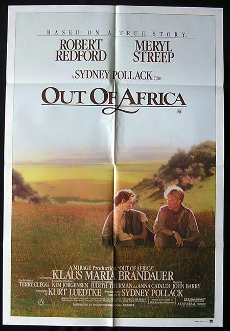 OUT OF AFRICA Original One sheet Movie poster Robert Redford Meryl Streep