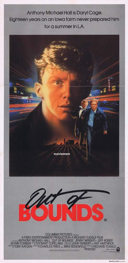OUT OF BOUNDS Original Daybill Movie Poster Anthony Michael Hall Jenny Wright