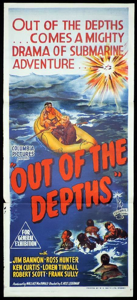 OUT OF THE DEPTHS Original Daybill Movie Poster Jim Bannon Ross Hunter Submarine