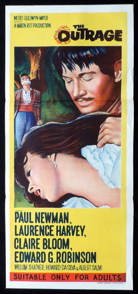 THE OUTRAGE Original Daybill Movie Poster Paul Newman Claire Bloom