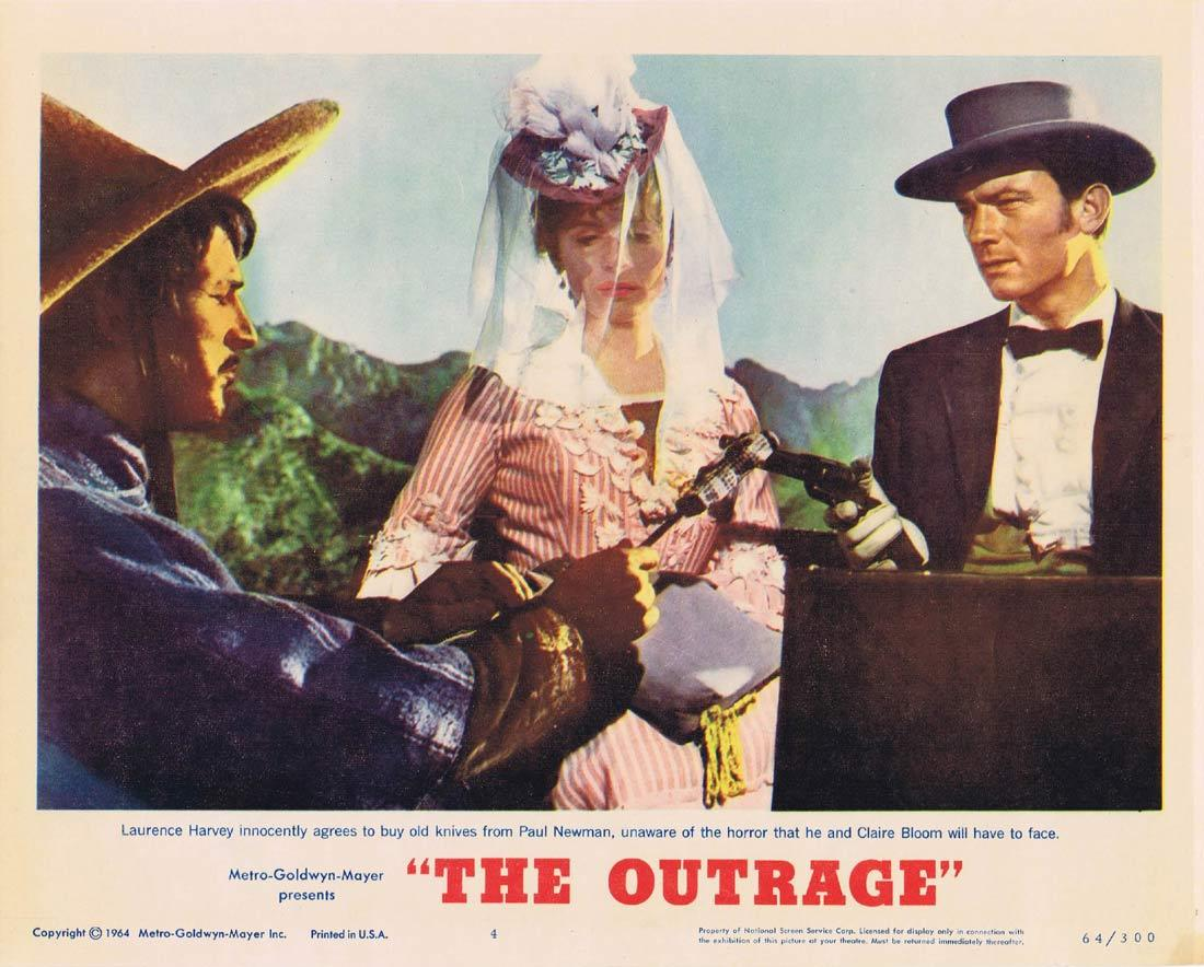 THE OUTRAGE Lobby Card 4 Paul Newman Laurence Harvey Claire Bloom Edward G. Robinson