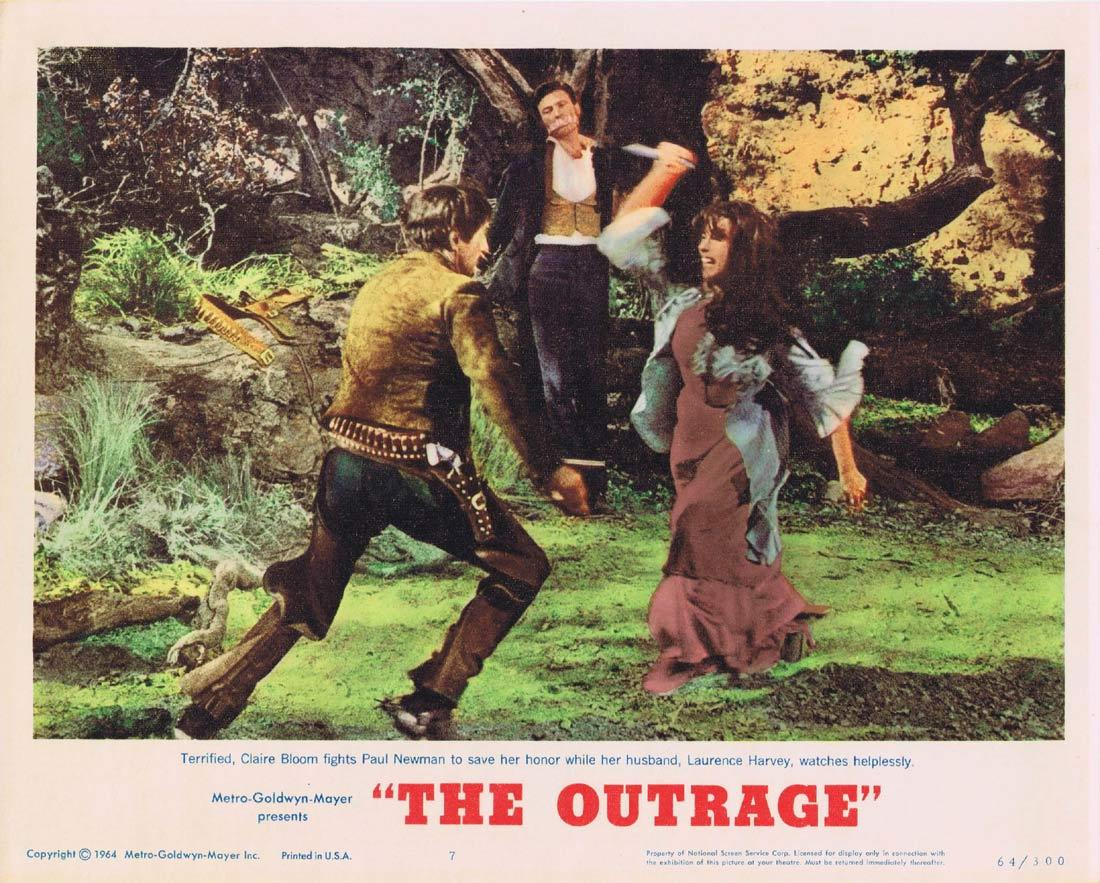 THE OUTRAGE Lobby Card 7 Paul Newman Laurence Harvey Claire Bloom Edward G. Robinson