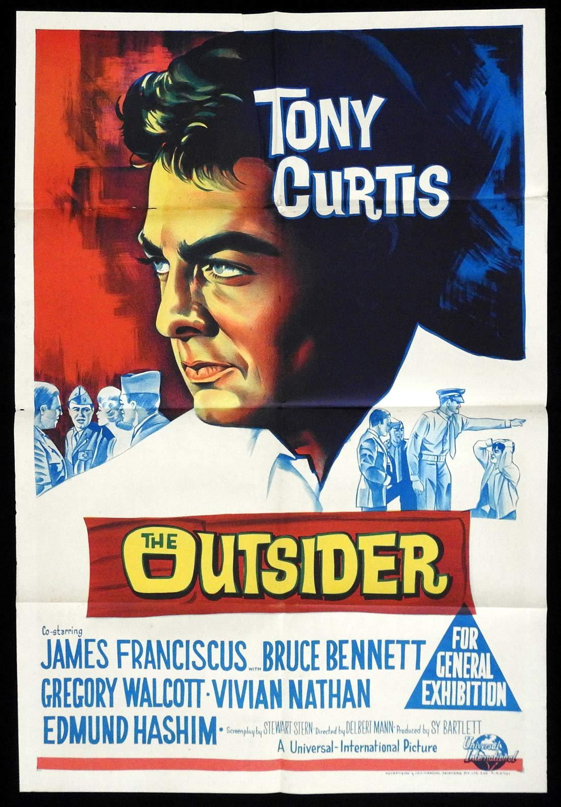 THE OUTSIDER Original One sheet Movie poster Tony Curtis