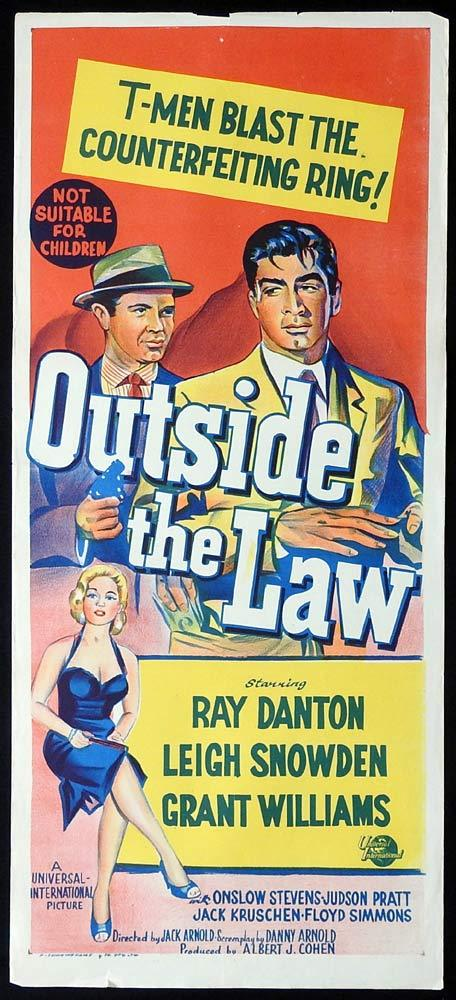 OUTSIDE THE LAW Original Daybill Movie Poster Ray Danton Film Noir