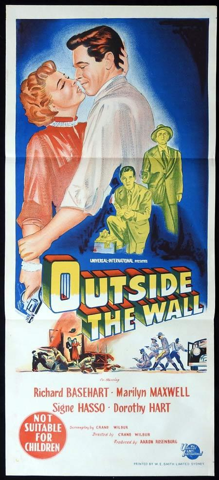 OUTSIDE THE WALL Original Daybill Movie Poster Richard Basehart Marilyn Maxwell Signe Hasso