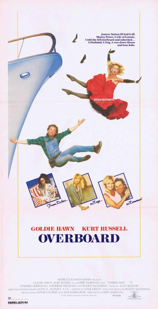 OVERBOARD Original daybill Movie Poster GOLDIE HAWN Kurt Russell Roddy McDowall