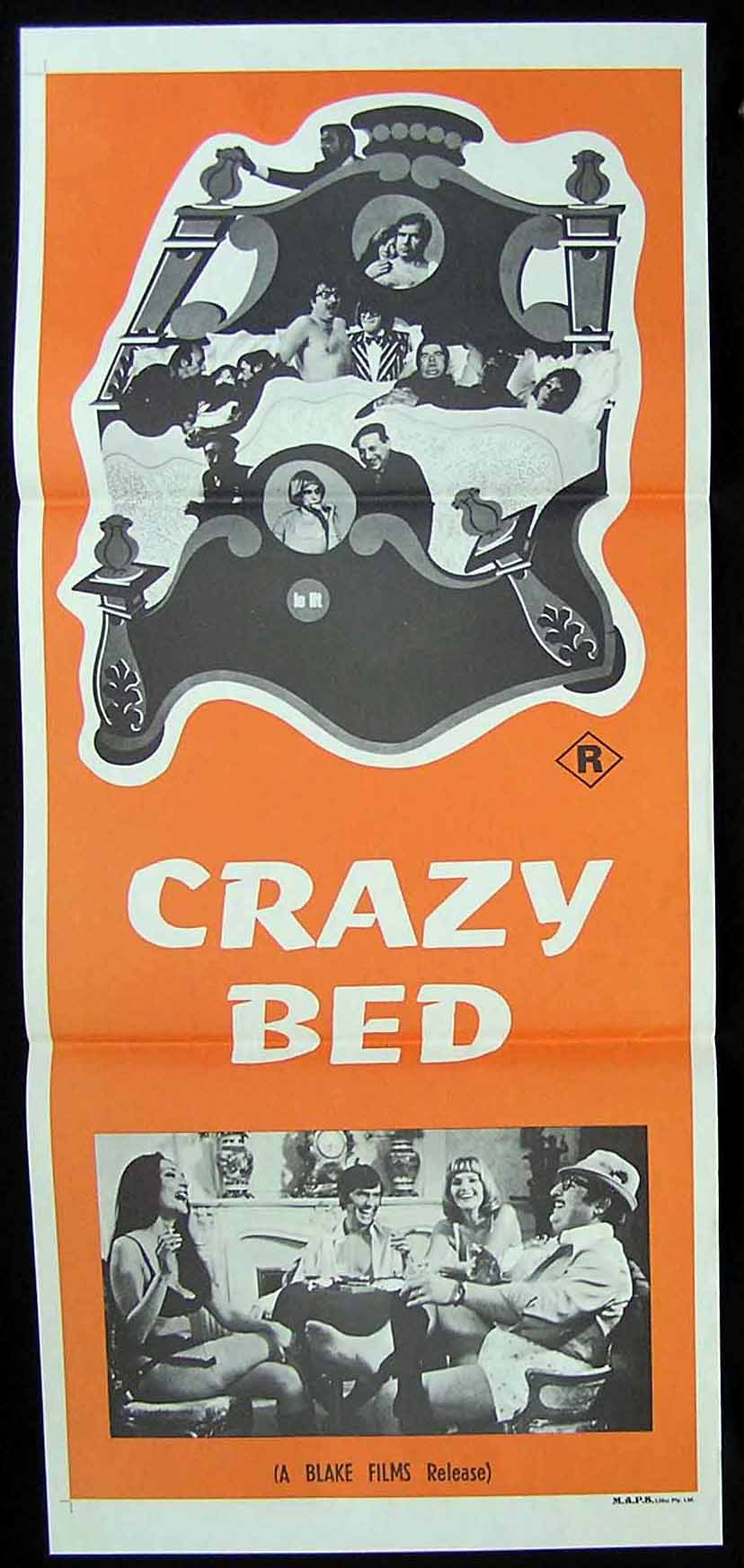 CRAZY BED 70s German Sexploitation Movie Poster