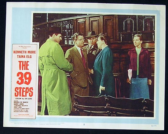 THE 39 STEPS Lobby Card 2 Kenneth More Taina Elg
