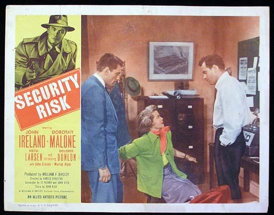 SECURITY RISK 1954 John Ireland Dorothy Malone Lobby Card 2